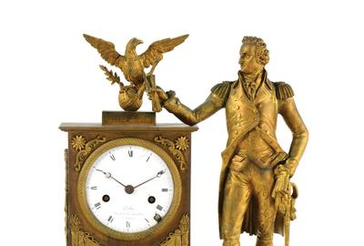 Extremely rare circa-1810 neoclassical brass and ormolu mounted mantel clock, Dubuc (Paris) for American market, depicts George Washington with American eagle.  Signed on enameled dial.  Estimate $40,000-$80,000
