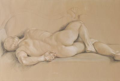 Paul Cadmus, Male Nude #NM5, Crayons on Hand-toned Paper, 1965