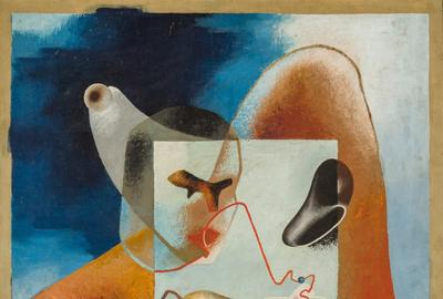 ENRICO PRAMPOLINI, Italian (1894-1956), Surrealist Composition, oil on panel, signed, 45 3/4 x 35 inches, Estimate: $8,000-12,000