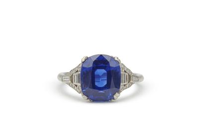 Marcus & Co.  Kashmir Sapphire and Diamond Ring sold for $237,500.