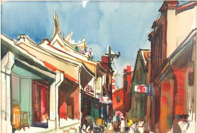 The top lot of the auction at $30,000 was this Shiy De-Jinn watercolor of a temple and busy street scene, is noted for its bold use of color.