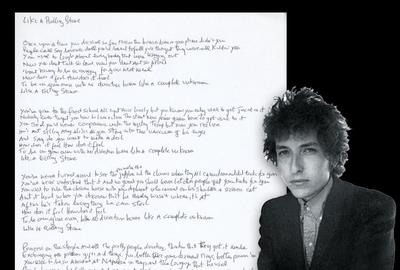 Bob Dylan's handwritten and signed lyrics to the classic rock song Like a Rolling Stone, on an 8 ½ by 11-inch sheet, authenticated by Dylan's manager, Jeff Rosen (est.  $75,000-$85,000).