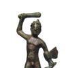 Etruscan bronze figure of Herakles (circa 3rd-2nd Century BC), 4 ½ inches tall and mounted on an old wood base.  Facial details are nicely preserved and the piece has a nice, even brown patina.