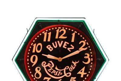 1930s Pepsi-Cola neon clock made in the 1930s for the French-Canadian market, with Pepsi's early 'double-dot' logo (est.  CA$2,500-$3,500).