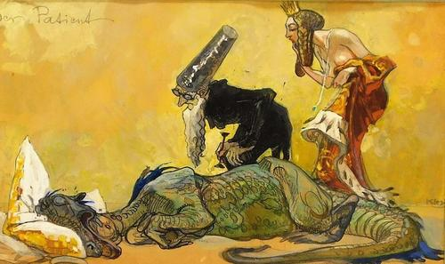 Mythical illustrative painting by Heinrich Kley (German, 1863-1945), titled Der Patient, depicting an ill dragon resting on a pillow stuffed with gold (est. $3,000-$5,000). Bruneau & Co. Auctioneers