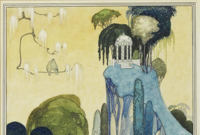 "Kay Nielsen, original watercolor from ""In Powder and Crinoline"" illustrating the story, ""Felicia or The Pot of Pinks, 1913."""