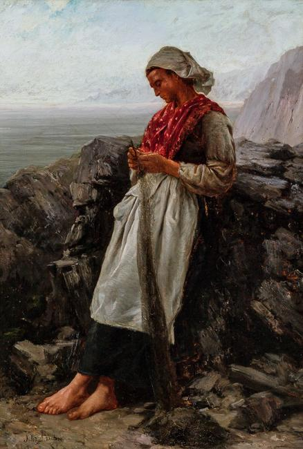 "Lot 45 – Jules Breton (French, 1827-1906), Mending the Nets, oil on canvas, signed lower left ""Jules Breton"", 26 1/4 x 18 inches, estimate: $30,000-50,000."