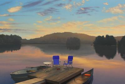 "Scott Prior ""Sunrise on the Lake"" Oil on canvas 36 x 32 inches Collection of the Cahoon Museum of American Art"