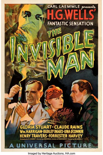 "Rare movie poster for the 1933 ""The Invisible Man"" sold for $182,400. HERITAGE AUCTIONS"