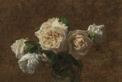 Henri Fantin-Latour, Six Roses Jaunes dans un Vase en Verre, 1903.  Est.  $200,000-400,000.  The Collection of Dorothea Benton Frank.  Lot 203.