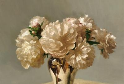 "Sarah Lamb, ""Peonies in Silver,"" Oil on linen, 23 x 24 in"