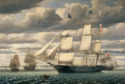 Fitz Henry Lane, Ship Southern Cross in Boston Harbor, 1851.  Oil on canvas, 34 1/4 x 47 x 4 1/2 inches (86.995 x 119.38 x 11.43 cm) framed.  Peabody Essex Museum, Gift of the estate of Stephen Wheatland, 1987, M18639.  Courtesy of Peabody Essex Museum.  Photo by Mark Sexton