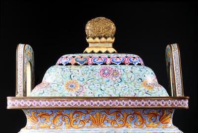 Qianlong Period Chinese Enameled Metal Censer