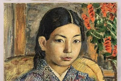 "Beautiful oil on canvas portrait of a Japanese girl by David Burliuk (Ukrainian/American, 1882-1967), 13 inches by 17 inches, signed lower left by Burliuk and dated ""1922"" ($39,100)."