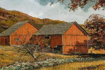 Lot 17 – Eric Sloane (American, 1905-1985), The Red Barn, oil on Masonite, signed, 23 1/4 x 35 1/2 inches, estimate: $10,000-$15,000.