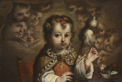 Juan Simón Gutiérrez (Medina-Sidonia 1643 – 1718 Seville) The Child Virgin Spinning (La Virgen niña hilando) Oil on canvas 30 ¼ x 22 ¾ inches (76.8 x 57.7 cm.)