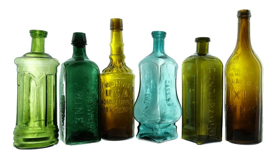 American Bottle Auctions' Auction #67 will feature the Ken Fee collection of mostly Western bitters bottles, to include a rare blue Cassin's Grape Brandy Bitters bottle (fourth from left). American Bottle Auctions