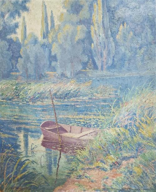 Oil on Masonite board by Henri Jean Guillaume Martin (1860-1943), depicting a river, trees and an unmanned rowboat (est. $20,000-$40,000). Miami Auction Gallery
