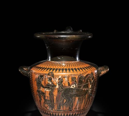 An Attic Black-Figured Hydria with Herakles Mounting His Quadriga Circa Late 6th Century B.C.  $15,000.00 - $20,000.00