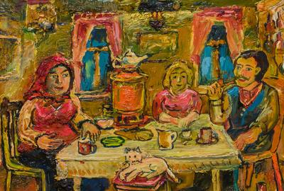 Lot No.  15, DAVID BURLIUK, American/Russian (1882-1967), Tea Party, oil on panel, signed, 8 x 10 inches, Estimate:$3,000-5,000