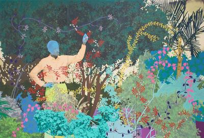 Art Aspen 2018 | Daisy Patton, Untitled (The Gardener), 2018.  Oil and mixed media on panel.  80 x 102 x 2 inches.  Courtesy of K Contemporary.