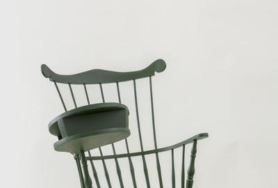 Sam Durant, Transcendental (Wheatley's Desk, Emerson's Chair), 2016, painted wood, 53 3/4 x 34 1/4 x 34 1/2 inches.  Collection of deCordova Sculpture Park and Museum.