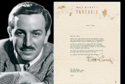One-page typed letter signed by Walt Disney (1901-1966), regarding an exhibition of Fantasia for Pan-American Union attendees' children, dated July 7, 1941 (est.  $3,000-$3,500).