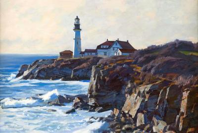 """South Portland Light"" by contemporary Massachusetts artist T.M.  Nicholas in Eldred's American Paintings Auction"