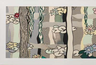 Roy Lichtenstein, Water Lilies with Willows, 1992.  Screen print enamel on stainless steel, 58 x 104 in.  Collection Pérez Art Museum Miami, gift from the Collection of Mary M.  and Sash A.  Spencer.  © Estate of Roy Lichtenstein