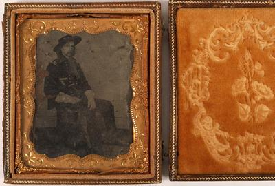 Original tintype of George Armstrong Custer in a non-political case, 3 ¼ inches by 3 ½ inches, taken in 1865 by Matthew Brady, the famous Civil War-era photographer ($5,750).