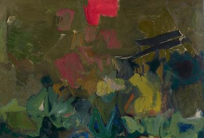 From Berry Campbell Gallery, Yvonne Thomas, Untitled (March 1957), 1957.  Oil on canvas.  55 1/2 × 65 in.