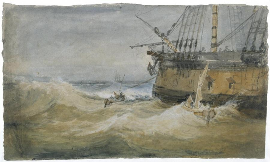 Image result for J.M.W. Turner (1775–1851). Small Boats beside a Man-o'-War, 1796–97. Gouache and watercolor on paper, 13 7/8 x 24 1/4 in. Tate: Accepted by the nation as part of the Turner Bequest 1856. Photo © Tate, 2019