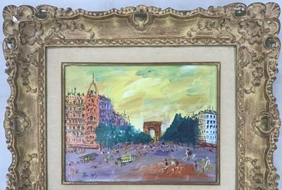 Oil on canvas painting by Jean Dufy (French, 1888-1964), circa 1950s, depicting a Parisian street scene featuring the Champs Elysees and the Arc de Triomphe (est.  $30,000-$50,000).