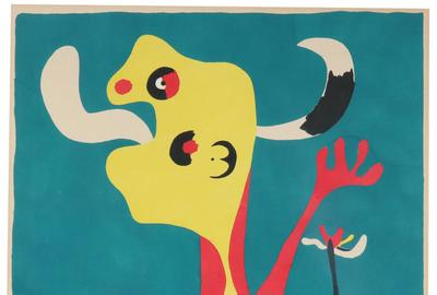 Superb pochoir in colors by Joan Miro titled Femme et Chien devant la Lune, 1936, a fantastical portrait of a woman and dog in front of the moon with bold primary colors (est.  $15,000-$25,000).