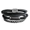 Men's Stackable Bracelets: Consists of Black Braided Leather Bracelet with Antique Stainless Steel Patterned Magnetic Center Buckle 8 ½-inch-long; Grey Hematite with Antique Steel Beads Bracelet 8 ¼-inch-long; Black Leather in White Tread and Braided Layered Bracelet with Steel Clasp.  8 ½-inch-long.