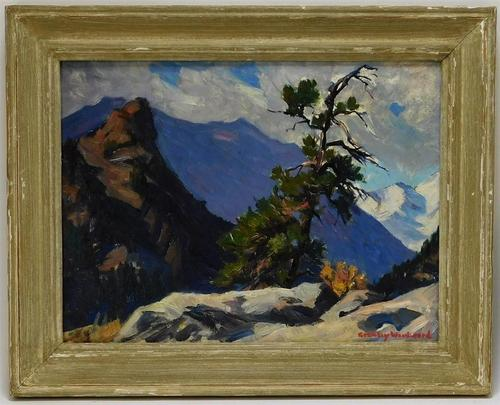 Impressionist landscape painting by Rockport community artist Stanley Woodward (Mass., 1890-1970) of a rocky trail through the White Mountains of New Hampshire (est. 1,500-$2,500). Bruneau & Co. Auctioneers