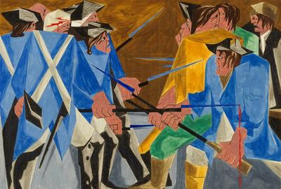 Jacob Lawrence, (American, 1917–2000).  There are combustibles in every State, which a spark might set fire to.  —Washington, 26 December 1786, Panel 16, 1956, from Struggle: From the History of the American People, 1954–56.  Egg tempera on hardboard.  Private Collection.  © The Jacob and Gwendolyn Knight Lawrence Foundation, Seattle/Artists Rights Society (ARS), New York.  Photo by Anna-Marie Kellen.