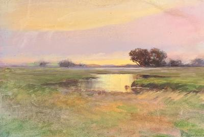 Edward Dearborn Everett (1818-1903) New England Marsh at Sundown.  Watercolor on paper; 6 ½ x 10 ¾ inches; Signed lower right.