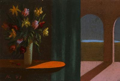 "Helen Lundeberg, ""Flowers and Arches,"" 1943, Initialed and dated ""HL '43"" lower left, Oil on board, 4 x 7.25 inches, Exhibited: Los Angeles Art Association, ""Contemporary Women Artists,"" Los Angeles, CA, ca.  mid-1940s; Gallery of Mid-Century Art, Los Angeles, CA, 1947; Chaffey College, Rancho Cucamonga, CA, 1950"