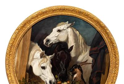 Oil on canvas equestrian painting by John Frederick Herring (British, 1795-1865), titled Horses and Goat Eating Turnips and Carrots, signed (1848) (est.  $90,000-$120,000).