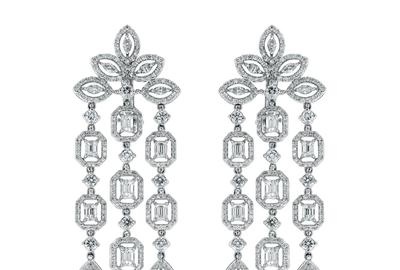 Legacy Diamond Earrings by Beauvince Jewelry.  8.55 cts.  diamonds, set in 18K white gold.  3 in.  length