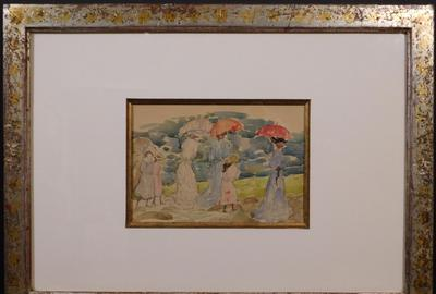 Two watercolor paintings attributed Maurice Prendergast (American, 1858-1924) will come up for bid, to include this lovely framed untitled (Women in a Park) work (est.  $20,000-$30,000).
