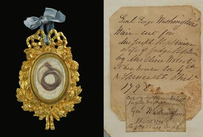Substantial lock of George Washington's (1732-1799) hair, framed and encased in ornate gilt-metal locket.  Two applied notes of provenance on verso indicating the hair was 'Cut by Mrs.  Oliver Wolcot (sic.) at her house 4th & Spruce Sts.  Phila 1798' for Mrs.  Joseph Hopkinson.' Hopkinson Family Archive.  Estimate $15,000-$25,000
