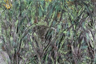 Thornton Dial, (American, 1928-2016) Hiding From the Coon Dog, Mixed Media