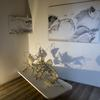 Installation view of Kathryn Hart's New Dawn 1, sculpture; wire, fiberglass, resin, bone and mixed media, 26x24x28 inches.