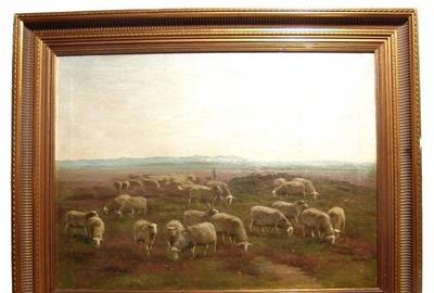 Late 19th Century oil on canvas painting by the Dutch realist painter Anton (Anthonij) Mauve (1838-1888), of sheep in a landscape setting, signed, framed and dated 1875 (est.  $10,000-$20,000).