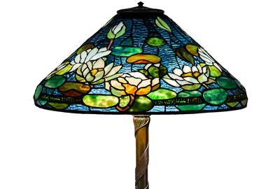 Lot #77 - Rare Tiffany Studios, New York Pond Lily Table Lamp Ht.  26 in.  Shade Dia 20 1/2 in.  SOLD: $143,750