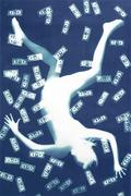 Nancy Wilson-Pajic, Falling Angel VI: Dollars Unique photogram in cyanotype 88 X 56,8 in