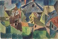 Peaked Roofs 1944, drawing, 12 x 18 inches