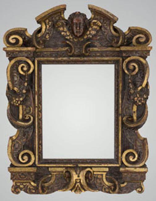 Italian Carved, Gilt, and Walnut Sansovino Frame